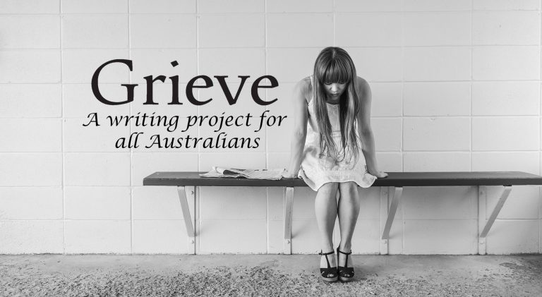 "Black and white image of a woman with long sitting on a bench, her face is looking down. Black text reads ""Grive , a writing program for all Australians""."