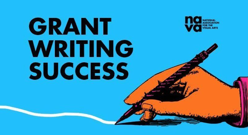 Image description: On the bottom right of the image a cartoon hand coloured orange is holding a pen that is connected to a squiggle which cuts across the bottom left of the image. Above the hand is the National Association for the Visual Arts logo and to the left of this in big black block letters there is text that reads 'Grant Writing Success'.